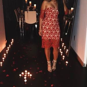 Forever 21 Red Lace Midi Dress Size S